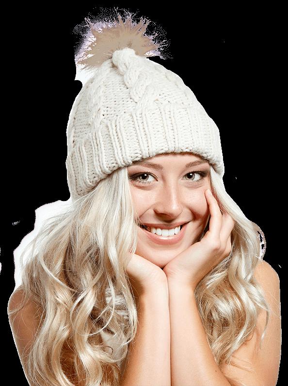 Frau mit weißer Mütze
