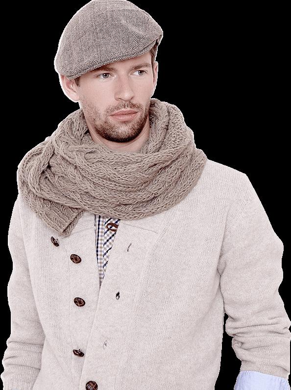 Mann mit brauner Mütze und Schal